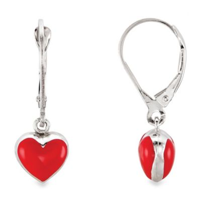 Disney® Sterling Silver Enamel Heart Earrings