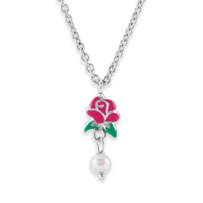 Baby Jewelry > Disney® Sterling Silver Belle Rose and Pearl Necklace