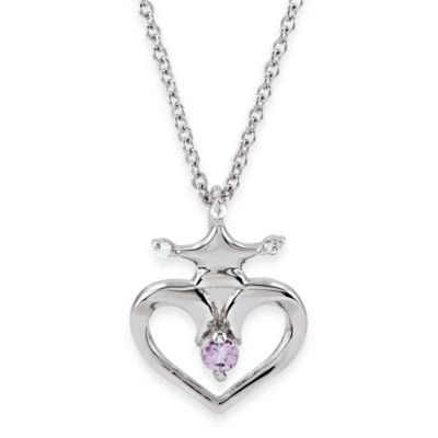 Disney® Sterling Silver Pink Sapphire and Diamond Heart Crown Necklace