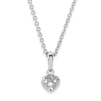 Disney® Sterling Silver White Sapphire Heart Necklace