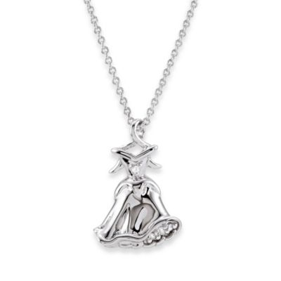 Disney® Sterling Silver and 0.02 cttw Diamond Sleeping Beauty Dress Necklace