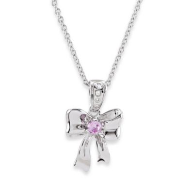 Disney® Sterling Silver Children's Pink Sapphire and .02 cttw Diamond Bow Necklace