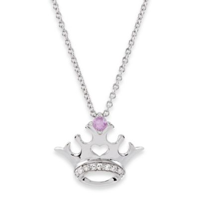 Disney® Sterling Silver Pink Sapphire and Diamond Crown Necklace