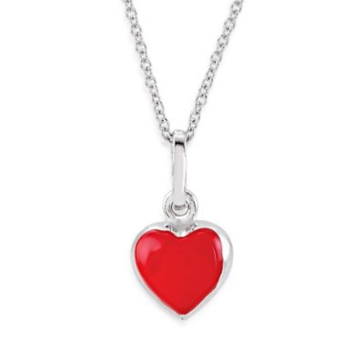 Disney® Sterling Silver Enamel Puff Heart Necklace in Red