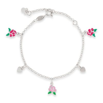 Disney® Sterling Silver, Belle Enamel Roses and Hearts Bracelet