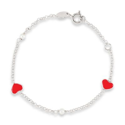 Disney® Sterling Silver, Pearl and Red Enamel Hearts Bracelet