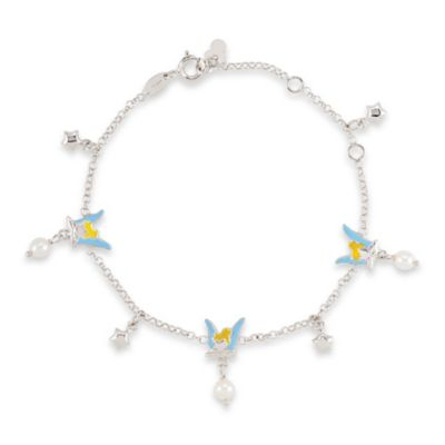 Disney® Sterling Silver Tinker Bell Pearl Bracelet