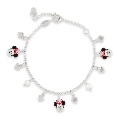 Disney® Sterling Silver Minnie Mouse Pearl Bracelet