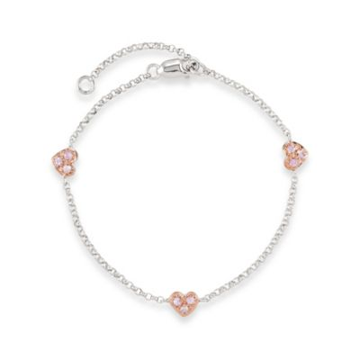 Disney® Sterling Silver Heart Bracelet with Pink Sapphires