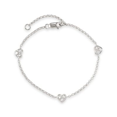Disney® Sterling Silver Heart Bracelet with White Sapphires