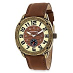 Field & Stream Men's Antique Gold-Tone and Wood Graphic Watch