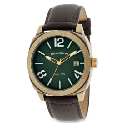 Field & Stream Men's Antique Gold-Tone Watch with Green Dial