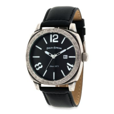 Field & Stream Men's Antique Silver-Tone Watch with Black Dial