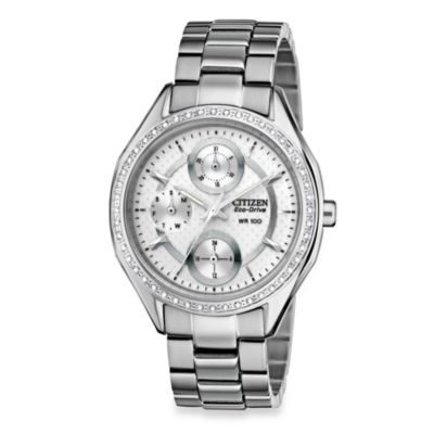 Citizen Ladies Drive from Eco-Drive Silver-Tone SS Bracelet with Swarovski® Crystal