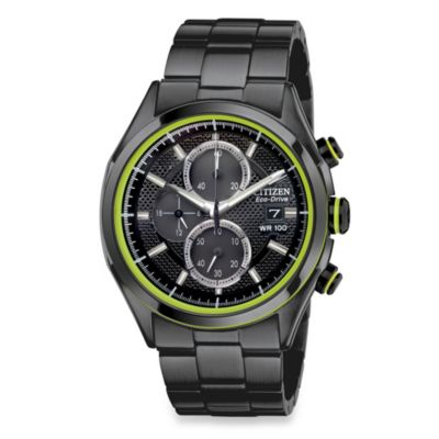 Citizen Men's Drive from Eco-Drive Ion-Plated Stainless Steel Chronograph in Black
