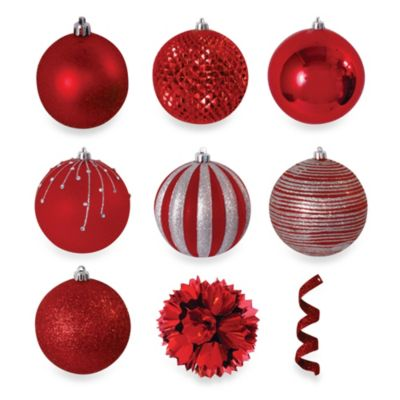 Brite Star 40-Piece Ornament Set in Red
