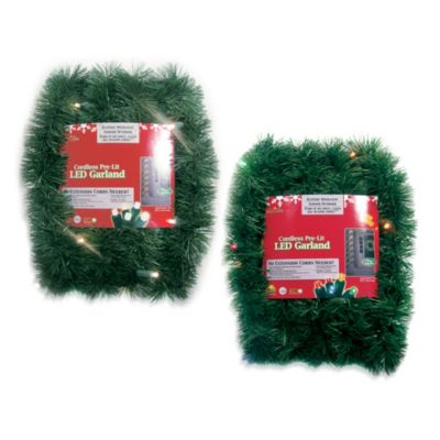 Brite Star Battery Operated 18-Foot Pine Garland with Multicolor LED Lights in Multicolor
