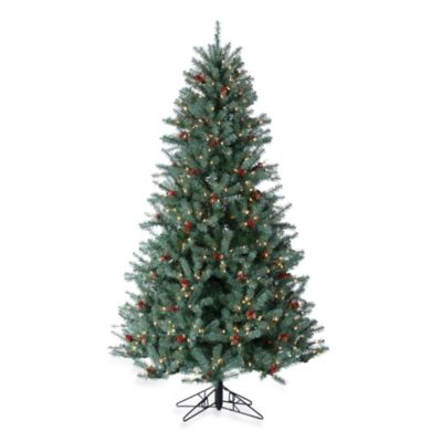 Blue/Green Diamond Fir Trees Pre-Lit with Clear Lights