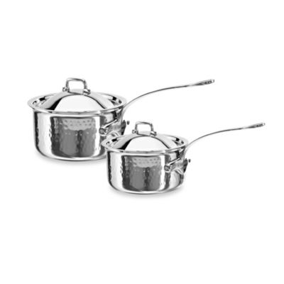Mauviel M'elite 2.7-Quart Stainless Steel Covered Saucepan