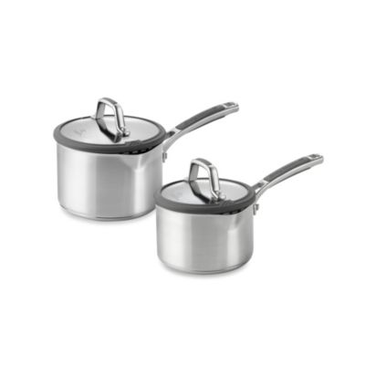 Simply Calphalon® Easy System™ Stainless Steel Covered Saucepans