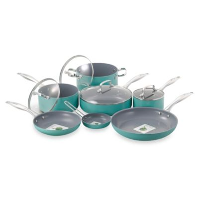 Fiesta 11-Piece Aluminum Cookware Set in Turquoise