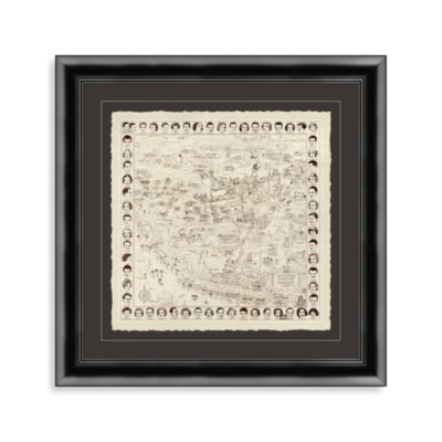 """Early Hollywood Map of the Stars"" Framed Art"