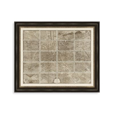 Paris Map Grid Framed Art