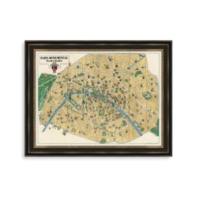 Monument Map of Paris Framed Art
