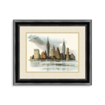 New York Skyline Watercolor Framed Art
