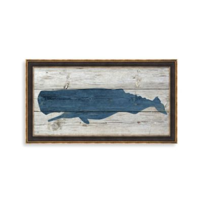 """Whale on Driftwood"" Framed Art 1"