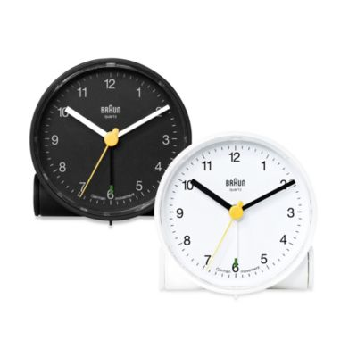 Braun® Round Travel Alarm Clock in White