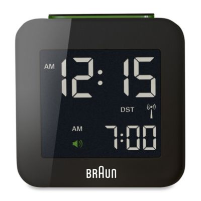 Braun® Digital Atomic Travel Alarm Clock in Black