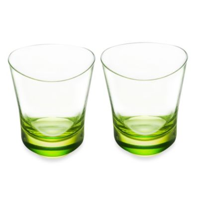 Kosta Boda Orrefors Tre Double Old Fashioned in Lime (Set of 2)
