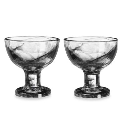 Kosta Boda Mine Coupe Dessert Bowls in Black (Set of 2)