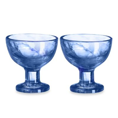 Kosta Boda Mine Coupe Dessert Bowls in Blue (Set of 2)