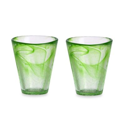 Kosta Boda Mine Tumblers in Lime (Set of 2)