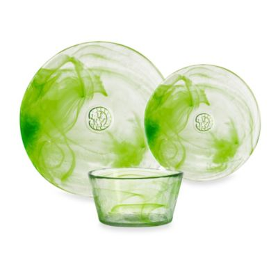 Kosta Boda Mine 3-Piece Dinnerware Set in Lime