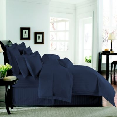 Wamsutta® 500 Damask Reversible Duvet Cover and Sham Set in Navy