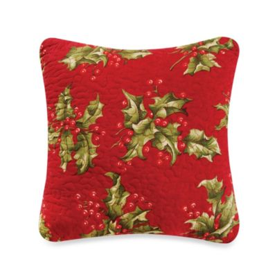 Mistletoe & Holly Square Throw Pillow