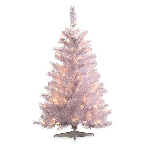 4-Foot x 29-Inch White Spruce Trees Pre-Lit with 150 Lights