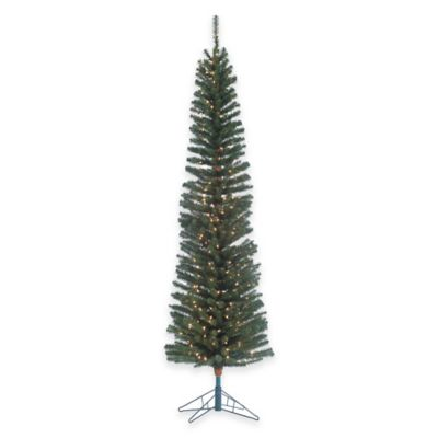 7.5-Foot x 23-Inch Pencil Fir Tree with Brown Trunk Pre-Lit with 300 Clear Lights