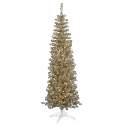 Vickerman 7-Foot 6-Inch Champagne Pre-Lit Pencil Christmas Tree with Clear Lights