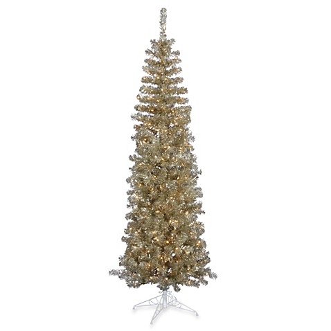 buy vickerman 6 foot 6 inch champagne pencil pre lit christmas tree with clear lights from bed. Black Bedroom Furniture Sets. Home Design Ideas