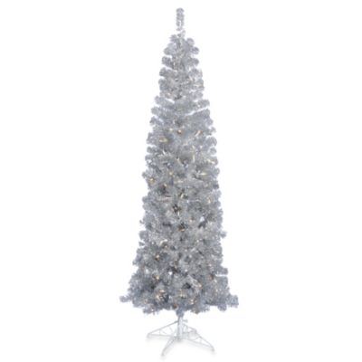 Vickerman 7.5-Foot Silver Pencil Tree with Clear Lights