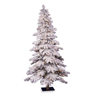 Vickerman 5-Foot Flocked Spruce Alpine Pre-Lit Christmas Tree with Clear Lights