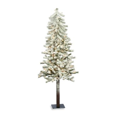 Vickerman 4-Foot Flocked Alaskan Pine Tree with Clear Lights
