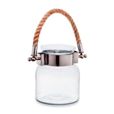 Home Essentials Portand 6.5-Inch Clear Seeded Lantern