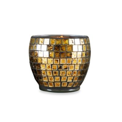 Kingsway Glass Pillar Holder with Metallic Mosaic