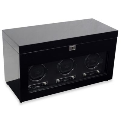 Wolf Designs Savoy Triple Winder with Storage in Black