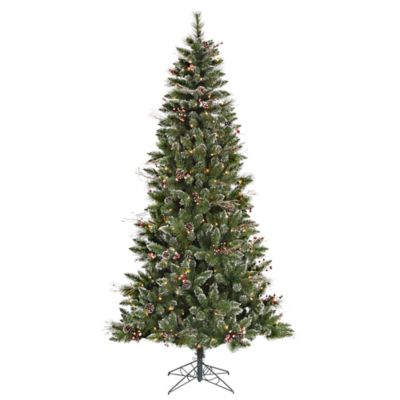 Vickerman 4.5-Foot Snow Tipped Pine/Berry Tree with Clear Lights